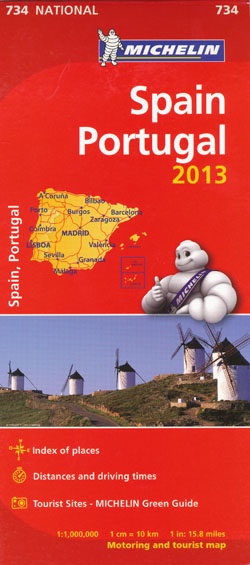 Spain Portugal Map 734 Michelin 2013