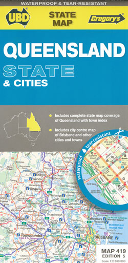 Queensland State and Cities Map 419 5th UBD Gregorys