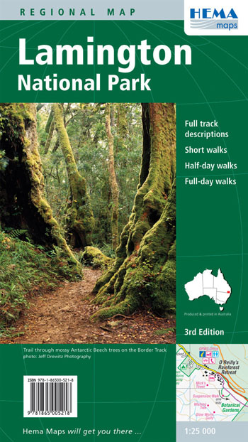 Lamington National Park Map Hema Laminated