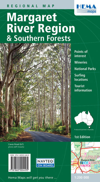 Margaret River Region and Southern Forests Map Hema
