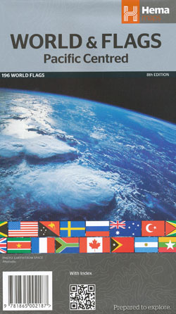 World and Flags Pacific Centred Folded Map Hema