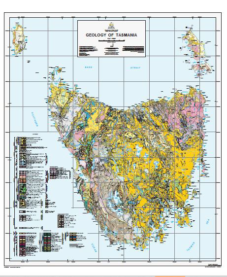 Mineral Deposits and Metallogenic Map of Tasmania 1-500000