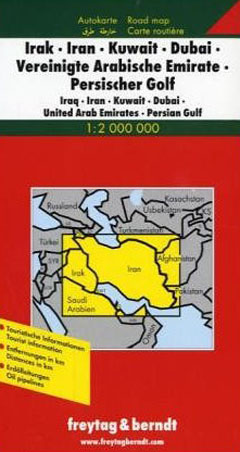 Iraq Iran Kuwait Dubai UAE Persian Gulf Map Freytag and Berndt