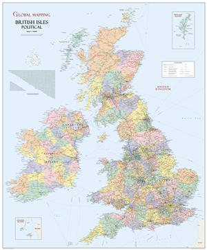 British Isles Map Global Mapping Laminated