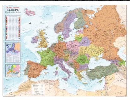 Europe Map Global Mapping Laminated
