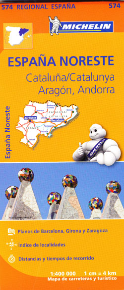 Spain Northeast Catalonia Aragon Andorra Map 574 Michelin