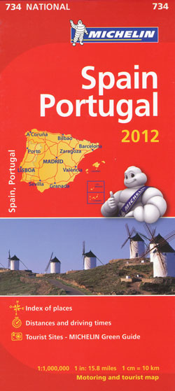 Spain Portugal Map 734 Michelin 2012