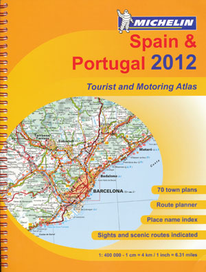 Spain Portugal Tourist and Motoring Atlas Michelin 2012