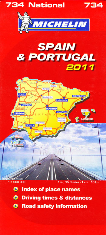 Spain Portugal Map 734 Michelin 2011
