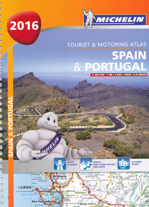 Spain Portugal Tourist Motoring Atlas Michelin 2016 Spiral Bound