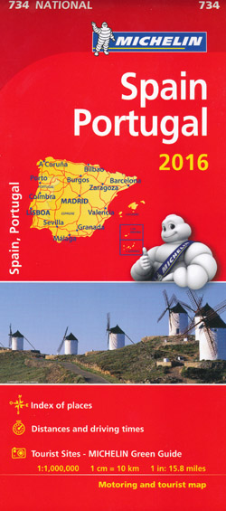 Spain Portugal Map 734 Michelin 2016
