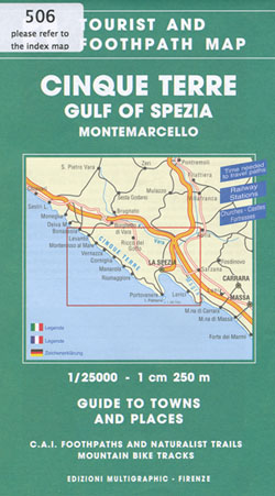 Cinque Terre Gulf of Spezia and Montemarcello Hiking Map
