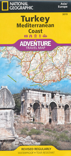 Turkey Mediterrainean Coast Map National Geographic Folded