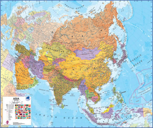 Asia Maps International Laminated