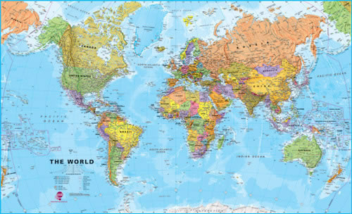 World Maps International Super Laminated