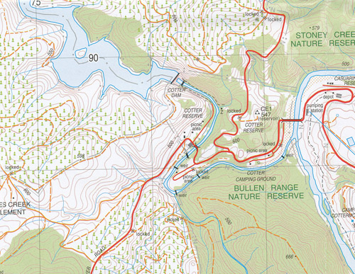 Cotter Dam 1-25,000 NSW Topographic Map