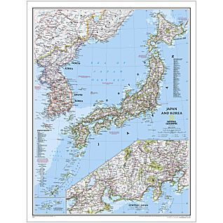 Japan and Korea National Geographic Laminated