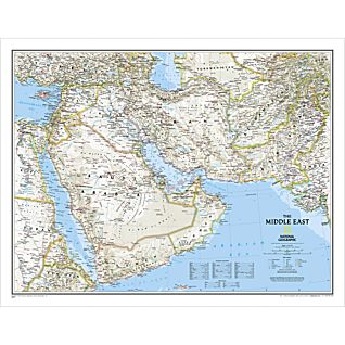 Middle East  National Geographic Laminated