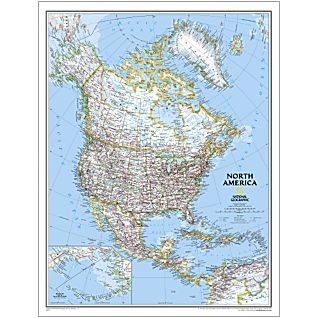 North America Large National Geographic Laminated