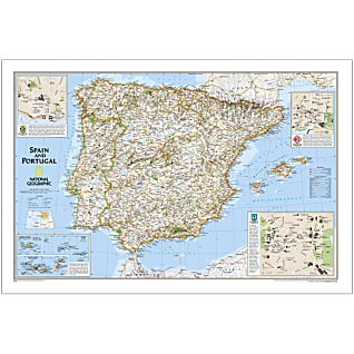 Spain Portugal National Geographic Laminated