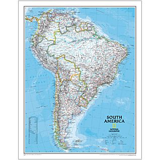 South America National Geographic Laminated