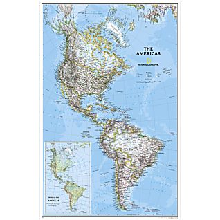 The Americas National Geographic Laminated