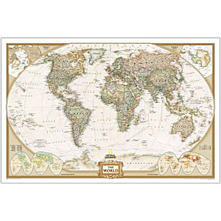 World 3 Sheet Antique Mural National Geographic