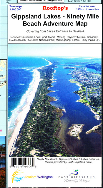 Gippsland Lakes 90 Mile Beach Map Rooftop LAMINATED