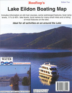 Lake Eildon Boating Map Rooftop LAMINATED