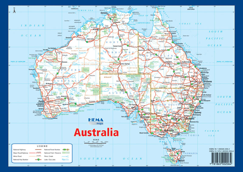 Buy Map Of Australia.Australia A4 Map Hema Maps Books Travel Guides Buy Online