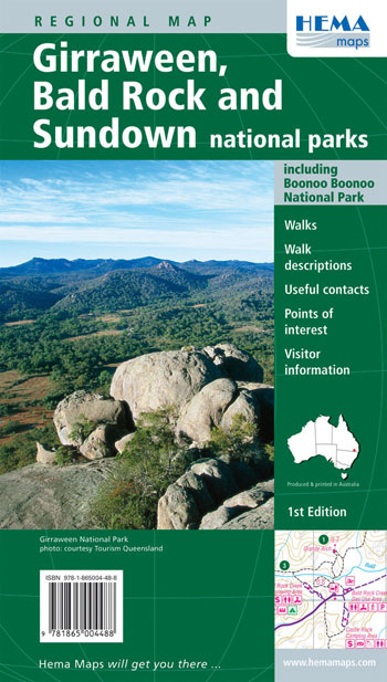 Girraween Bald Rock and Sundown National Parks Map Hema